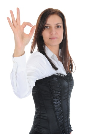 beautiful woman showing ok photo