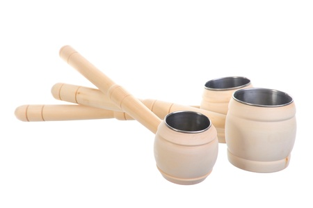 Image wooden ladle for the sauna photo