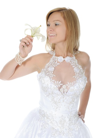 Happy bride with a lilies Stock Photo - 9379813