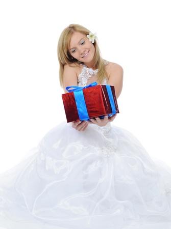 Bride hugging gift box Stock Photo - 9379769