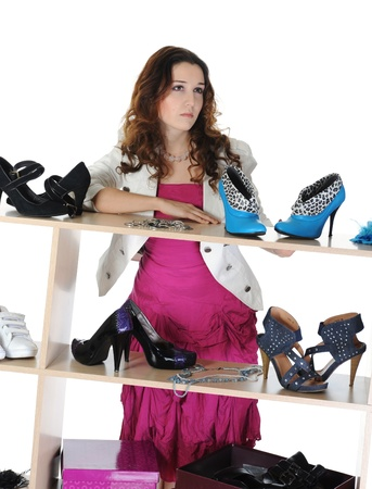 woman choosing shoes at a store Stock Photo - 9379775