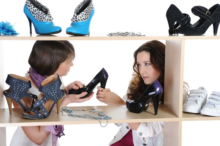 woman choosing shoes at a store Stock Photo - 9379817