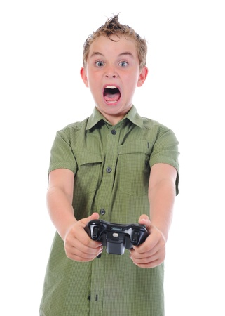 funny boy with a joystick Stock Photo - 9952194