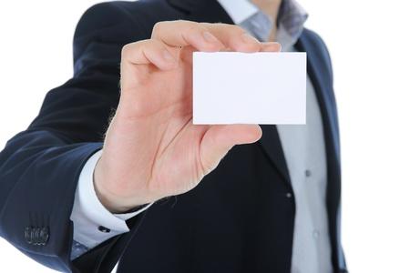 man handing a blank photo