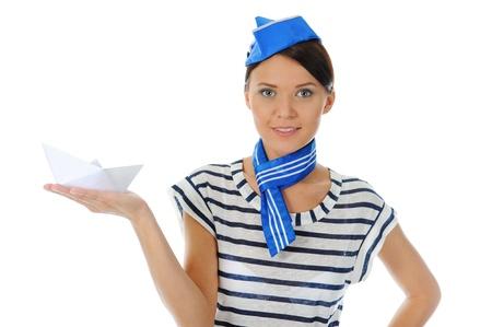 beautiful woman wearing sailor hat Stock Photo - 9952363