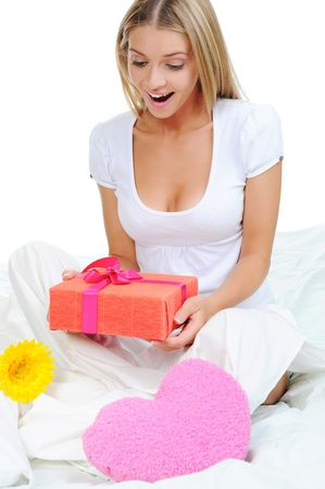 young woman with a gift box photo