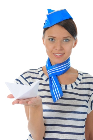 beautiful woman wearing sailor hat photo