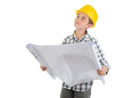 Little smiling builder in helmet Stock Photo - 9951939