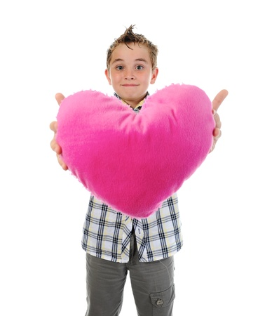 boy gives a heart photo