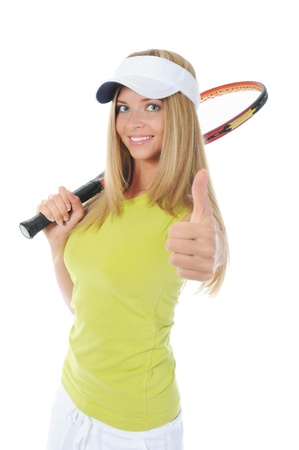 beautiful woman with a tennis racquet. photo