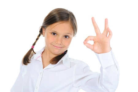 little girl shows sign okay photo