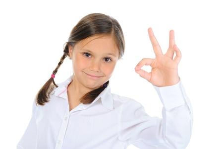 little girl shows sign okay Stock Photo - 9951944