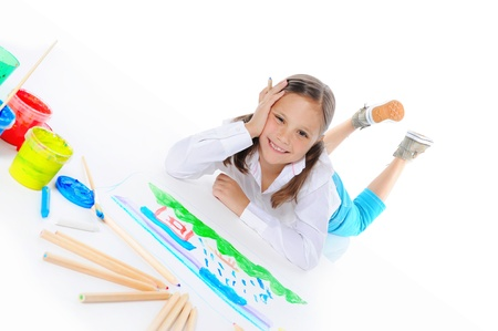 Girl draws Stock Photo - 9951986