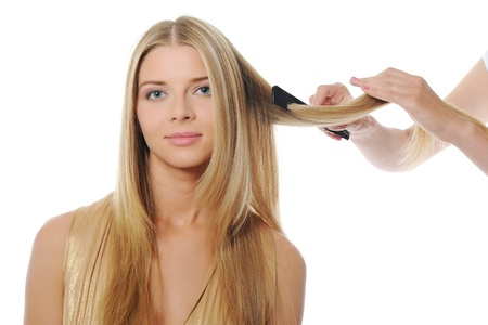 Stylist updo young blonde woman Stock Photo - 9952029