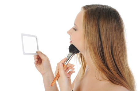 woman with a powder and brush Stock Photo - 9952240