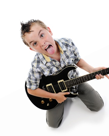 Little musician playing guitar photo
