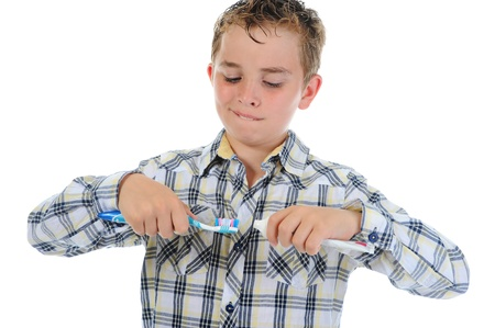 beautiful little boy cleans your teeth Stock Photo - 9952248