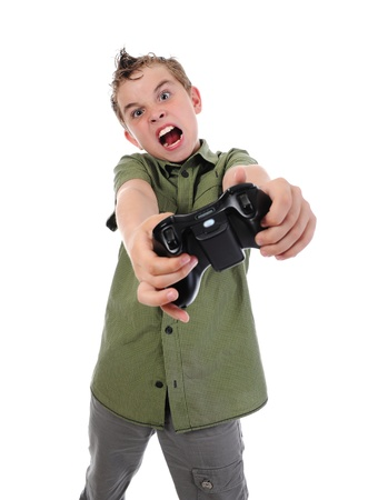 funny boy with a joystick Stock Photo - 9952449