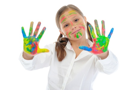 smiling girl with the palms painted by a paint. Stock Photo - 9952430
