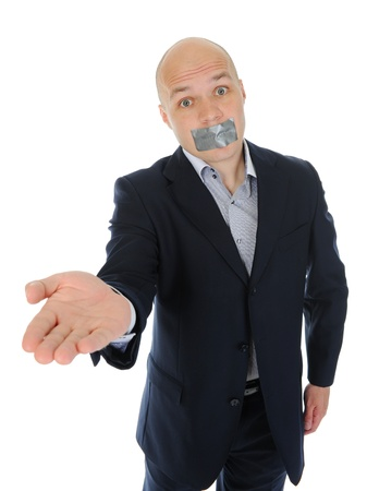 Businessman with mouth sealed Stock Photo - 9952440
