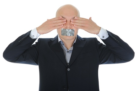 Businessman closing his eyes photo