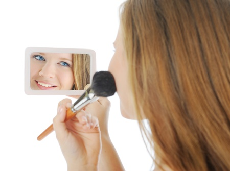 woman with a powder and brush Stock Photo - 9952021