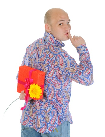 man with a gift box and a flower photo
