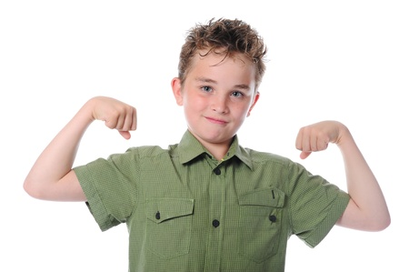 The boy shows his muscles photo