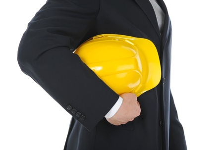 safety helmet: Businessman with construction helmet