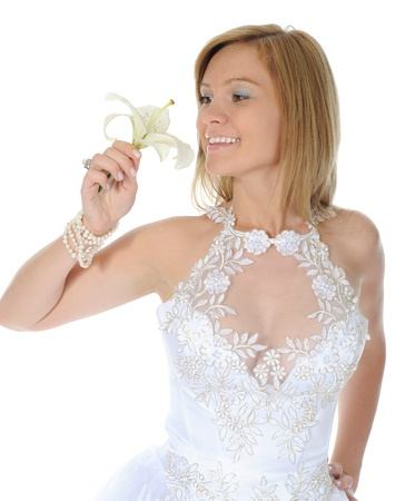 Happy bride with a lilies photo