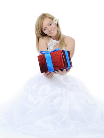 Bride hugging gift box photo