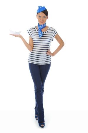 beautiful woman wearing sailor hat Stock Photo - 9952074