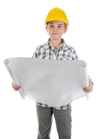Little smiling builder in helmet photo