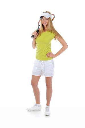 play tennis: beautiful woman with a tennis racquet.