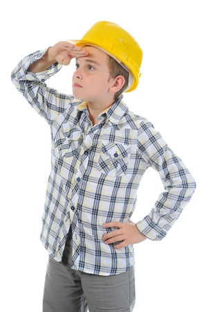 Little smiling builder in helmet Stock Photo - 9952305