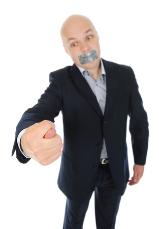 Businessman with hand outstretched photo