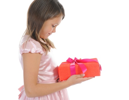 Little girl with a gift box photo