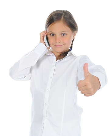 Cute little girl with thumbs up photo
