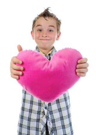 boy gives a heart photo
