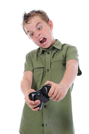 funny boy with a joystick Stock Photo - 9952456