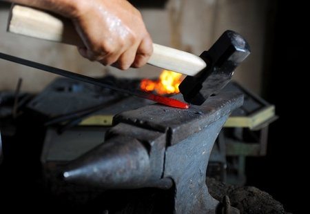 Making a decorative pattern on the anvil Stock Photo - 9952461