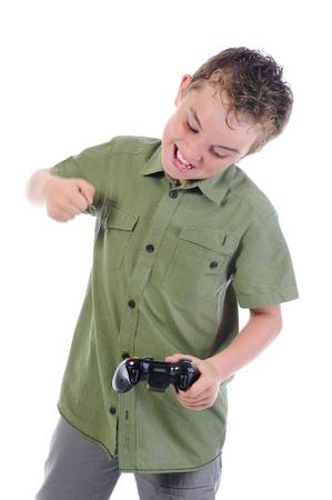 funny boy with a joystick photo