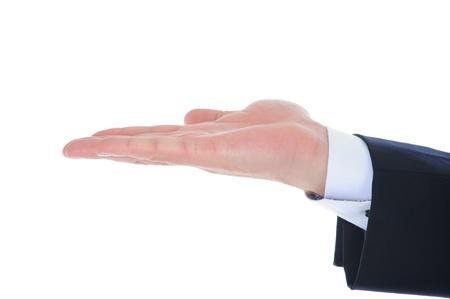 human hand held up. photo