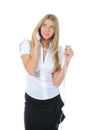 sch?ne Frau mit einem Handy in der Hand. Lizenzfreie Bilder - 9952146