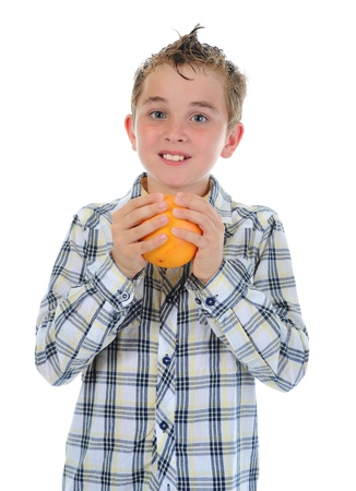 Little kid holding fresh oranges. Stock Photo - 9952167