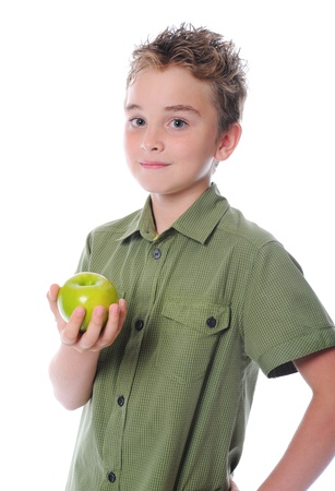 Boy holding an apple Stock Photo - 9952166
