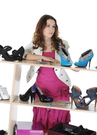 woman choosing shoes at a store photo