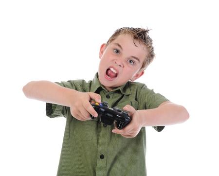 funny boy with a joystick Stock Photo - 9952427