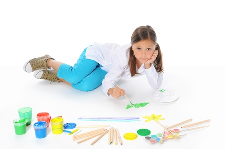 Girl draws Stock Photo - 9952429