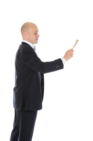 businessman with a brush in his hand Stock Photo - 9952422